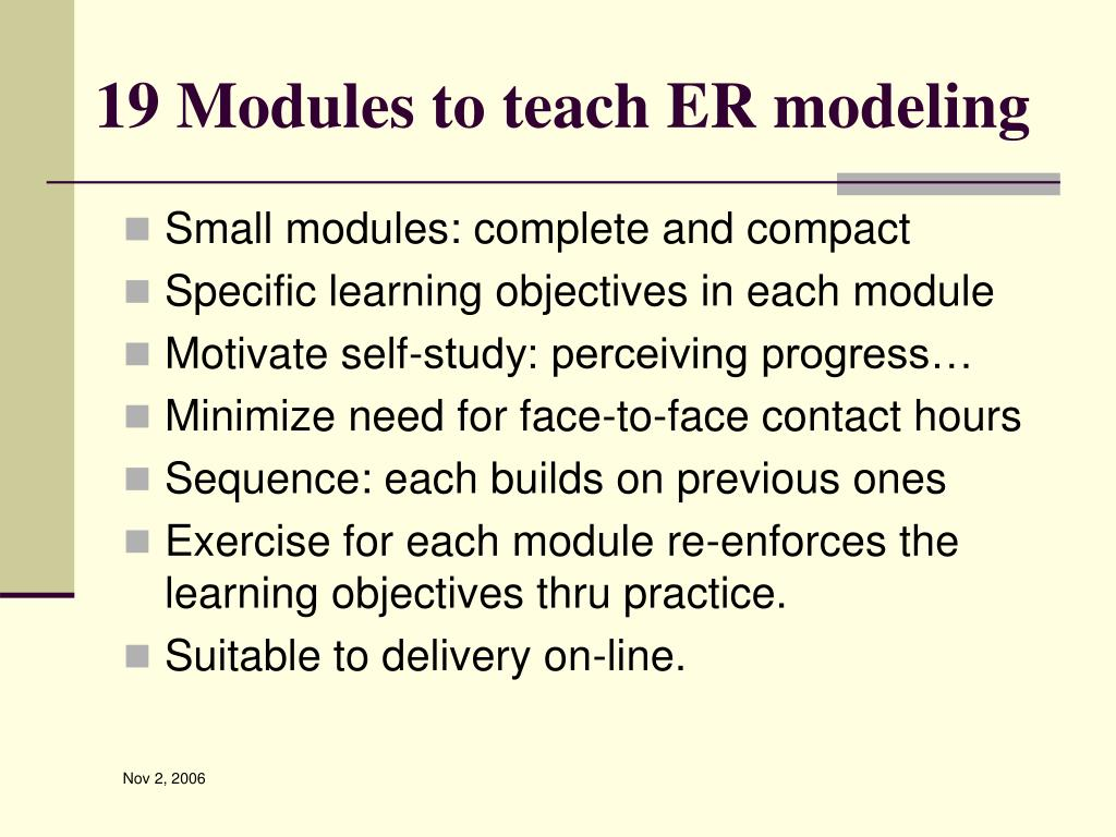 19 Modules to teach ER modeling