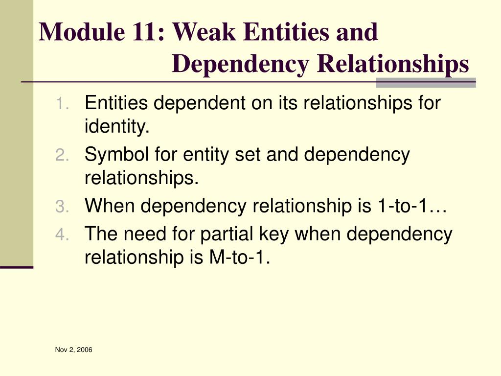 Module 11: Weak Entities and