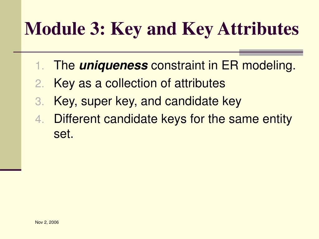 Module 3: Key and Key Attributes