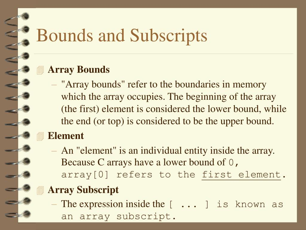 Bounds and Subscripts