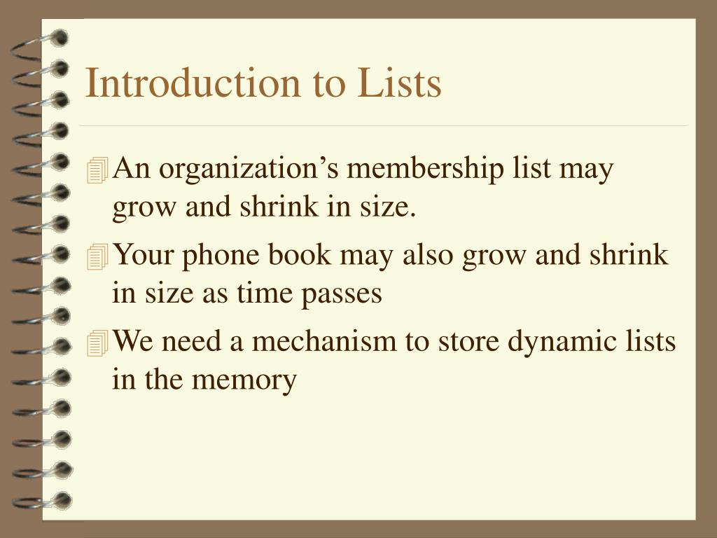 Introduction to Lists