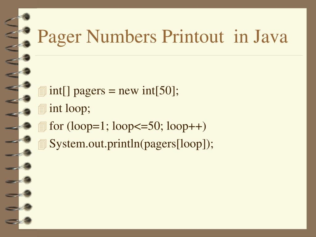 Pager Numbers Printout  in Java