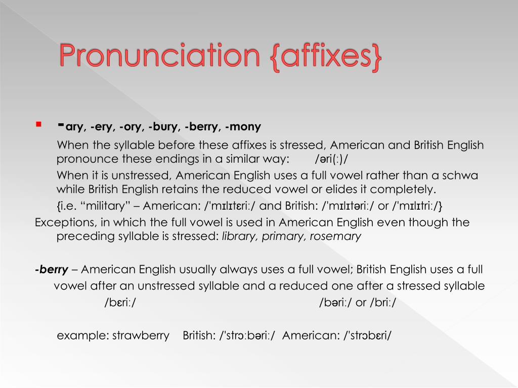 Pronunciation {affixes}