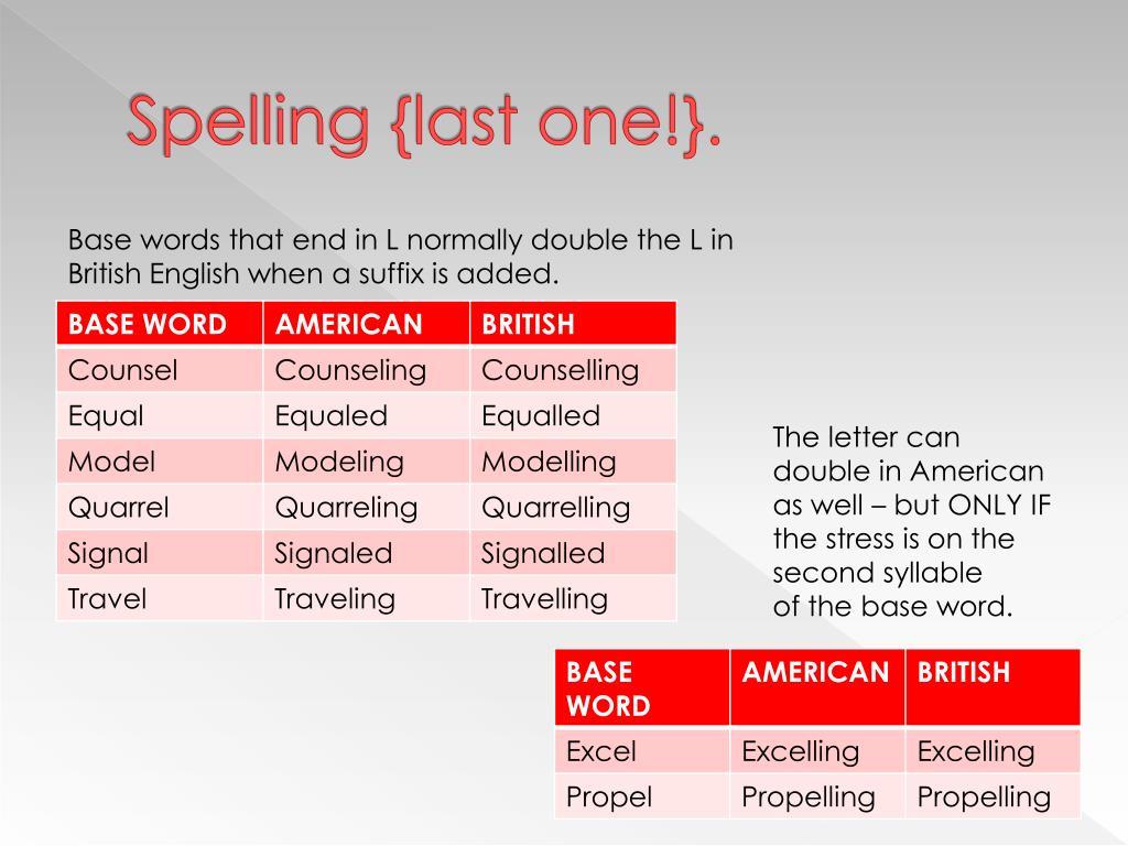 Spelling {last one!}.