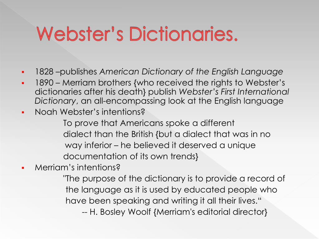 Webster's Dictionaries.
