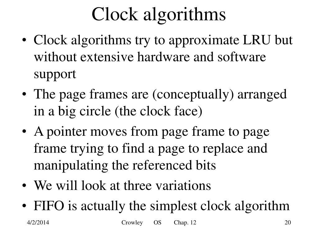 Clock algorithms