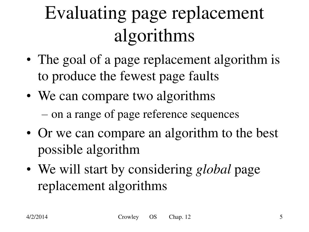 Evaluating page replacement algorithms