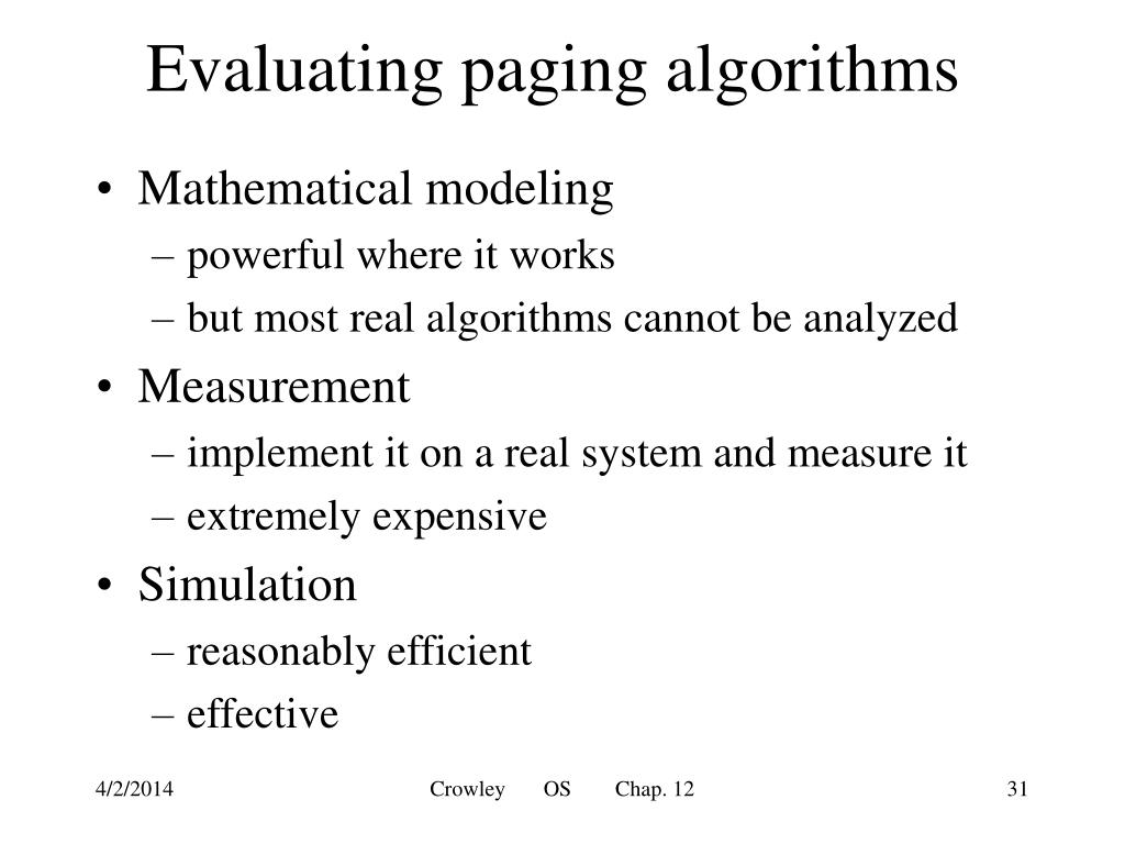 Evaluating paging algorithms
