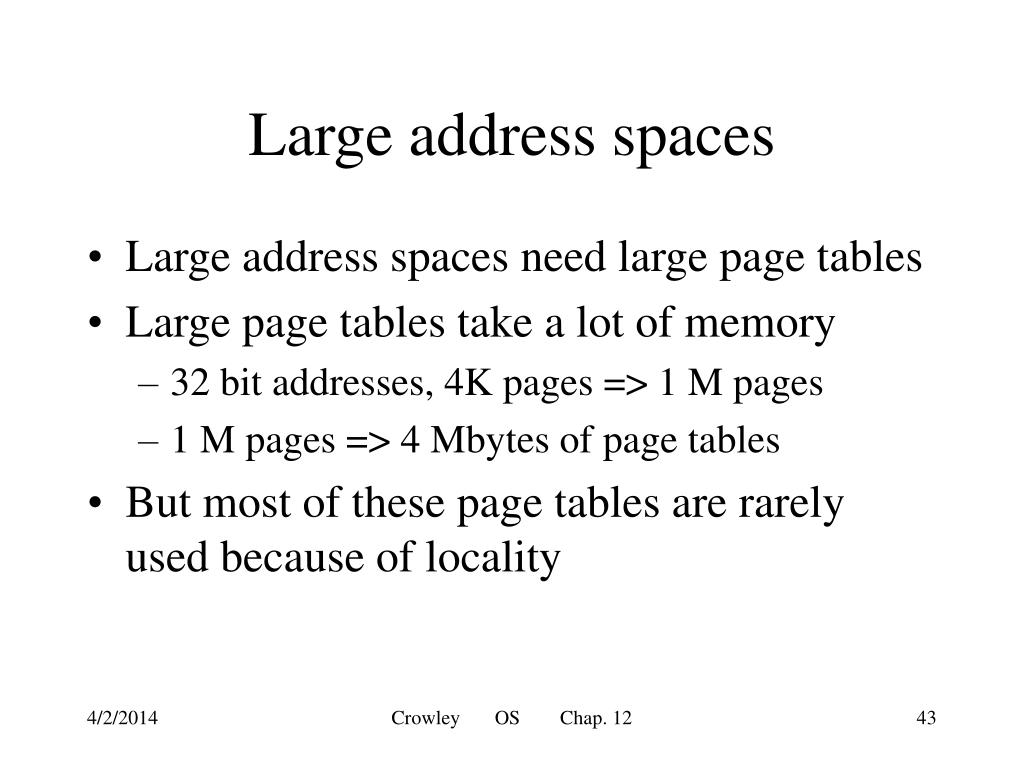 Large address spaces