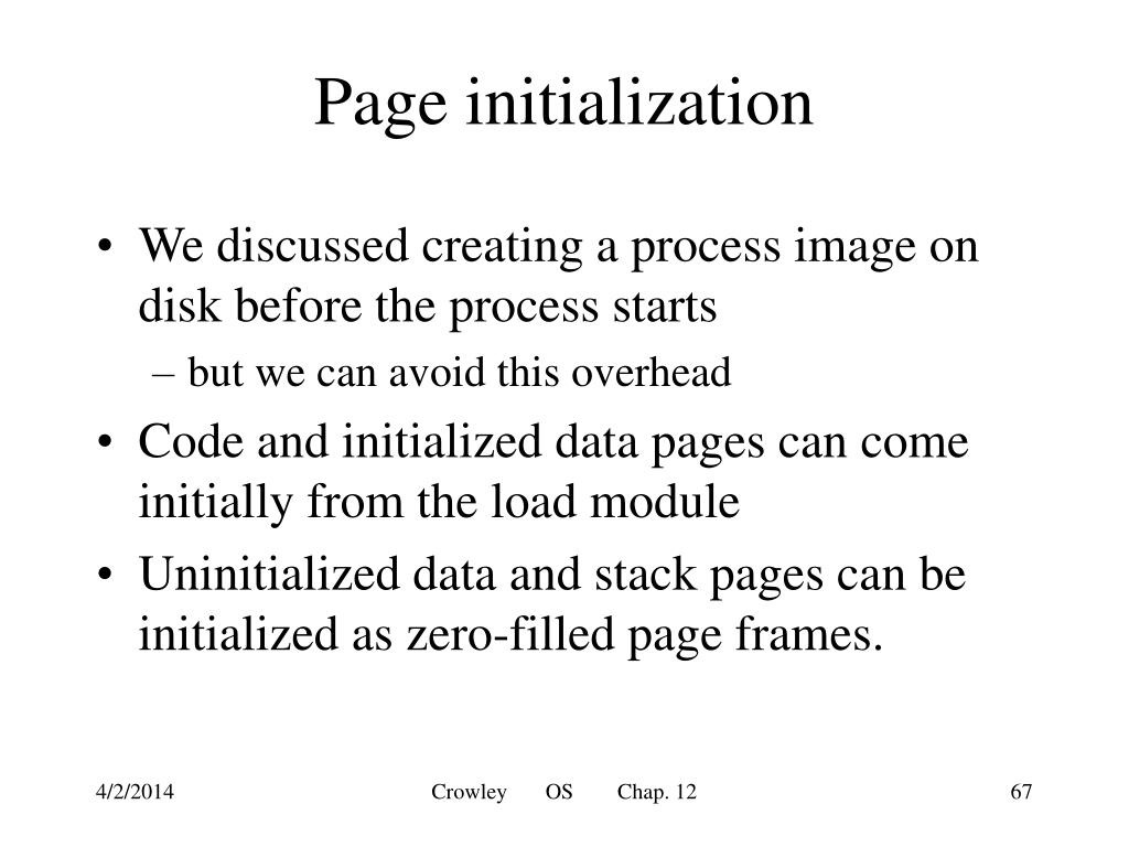 Page initialization