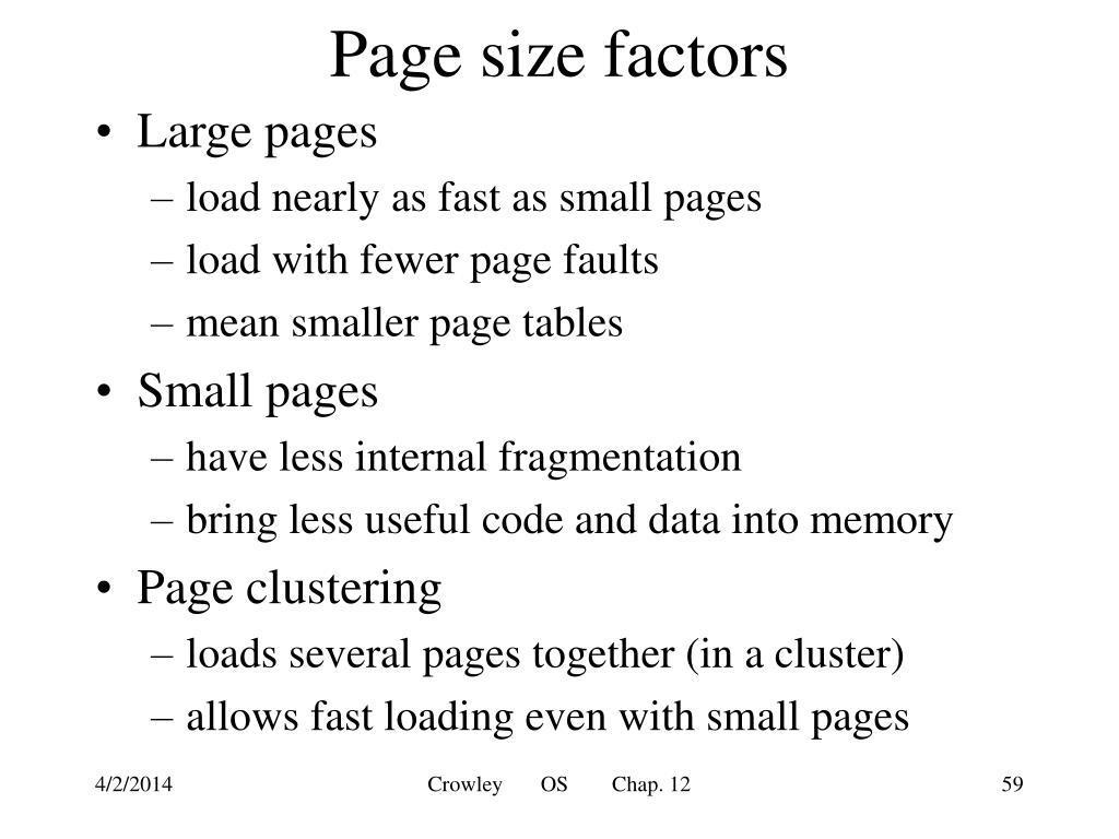Page size factors