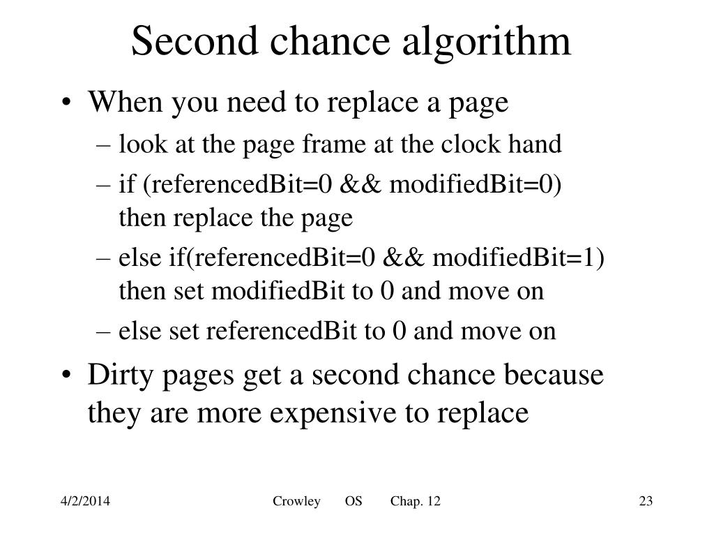 Second chance algorithm