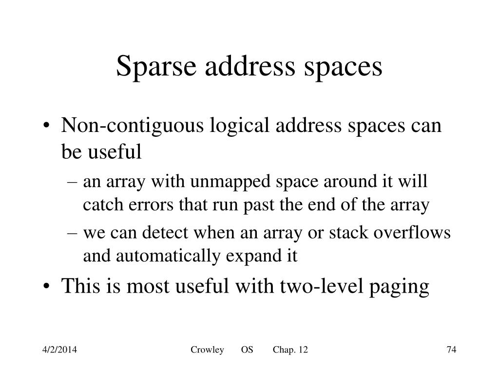 Sparse address spaces