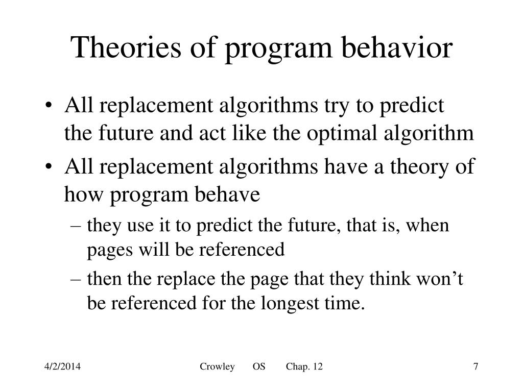 Theories of program behavior