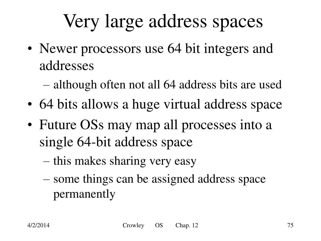 Very large address spaces