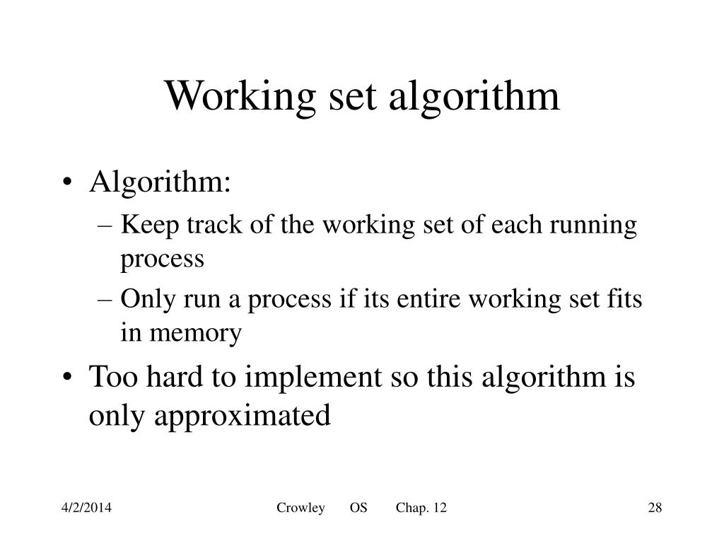 Working set algorithm