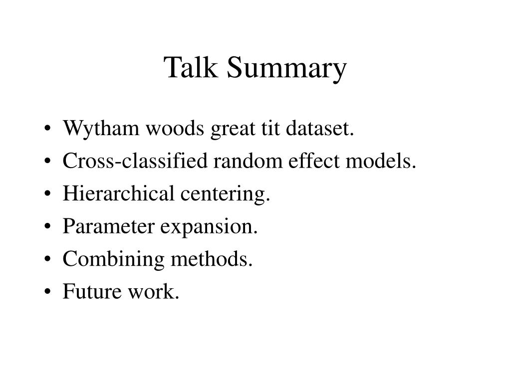 Talk Summary