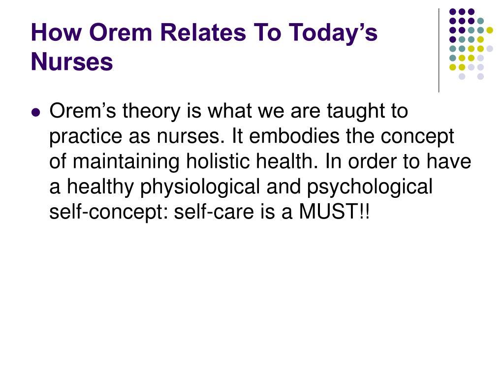 How Orem Relates To Today's Nurses
