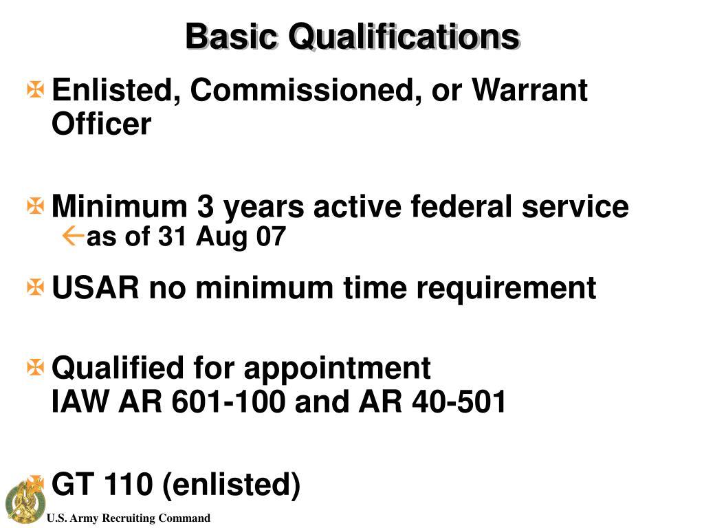 Basic Qualifications