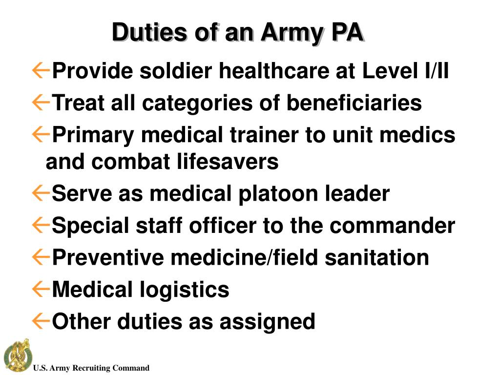 Duties of an Army PA