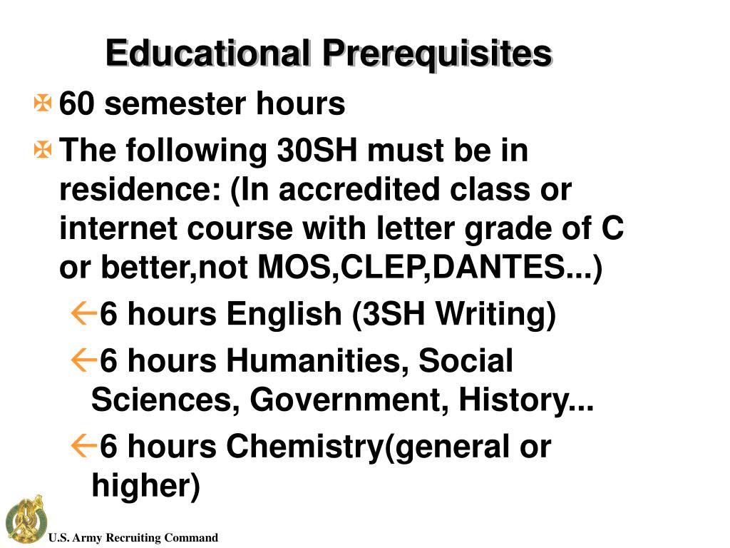 Educational Prerequisites
