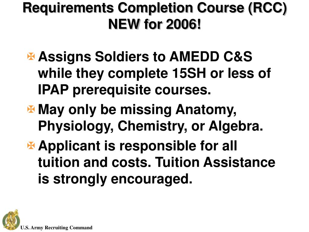 Requirements Completion Course (RCC)
