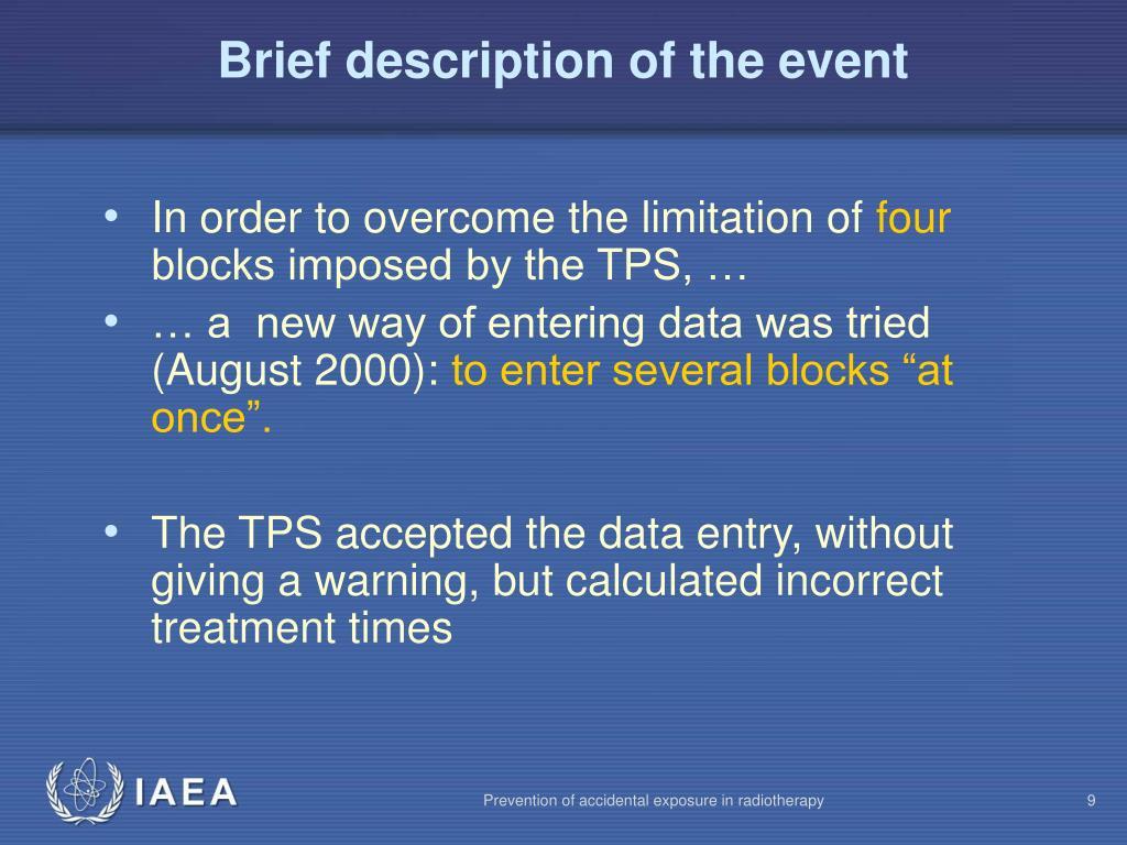 Brief description of the event