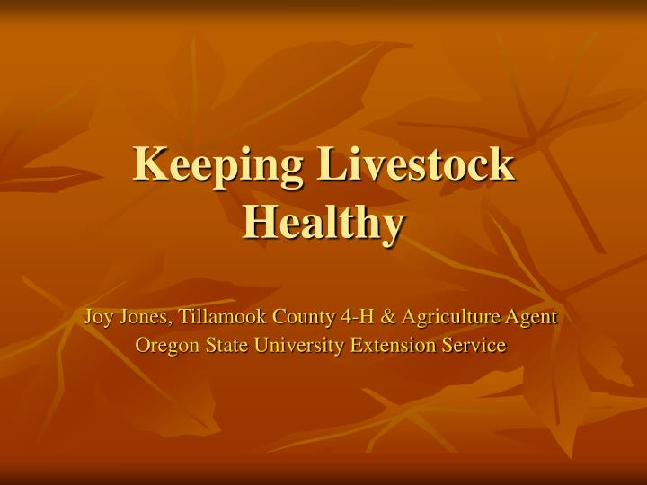 Keeping livestock healthy l.jpg