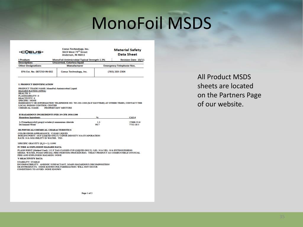 MonoFoil MSDS