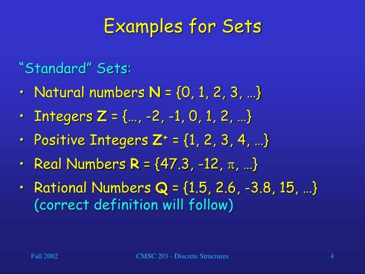 Examples for Sets