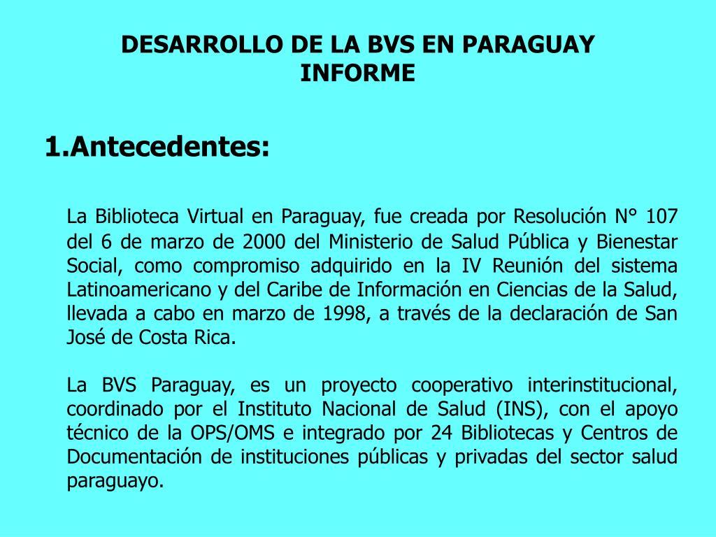 DESARROLLO DE LA BVS EN PARAGUAY