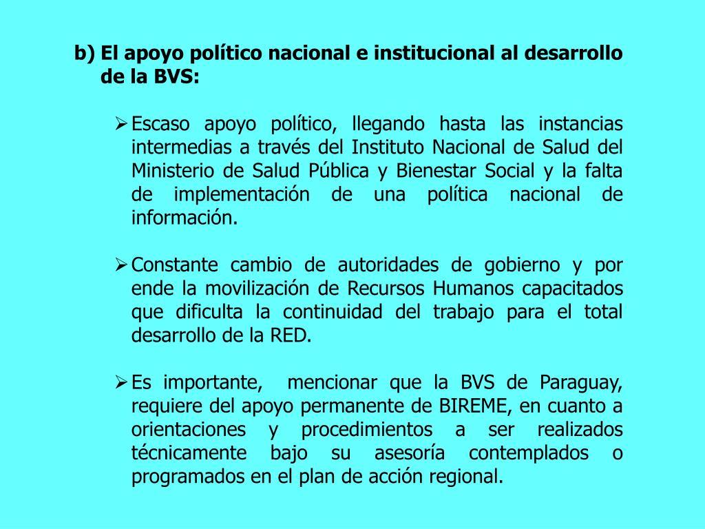 El apoyo poltico nacional e institucional al desarrollo de la BVS: