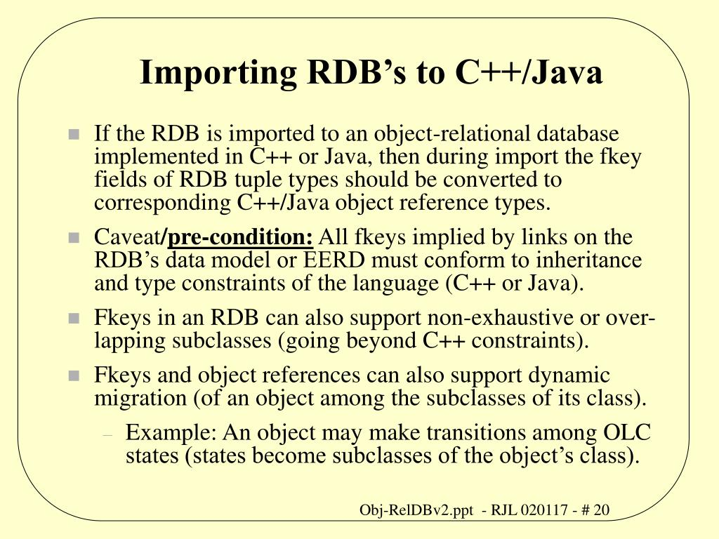 Importing RDB's to C++/Java
