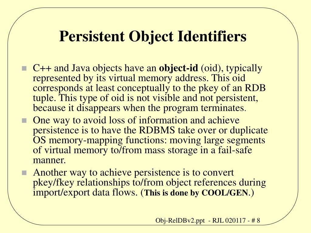 Persistent Object Identifiers