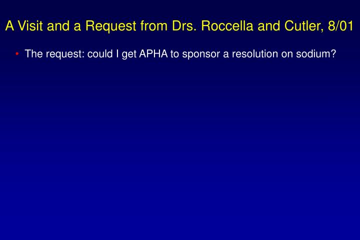 A Visit and a Request from Drs. Roccella and Cutler, 8/01