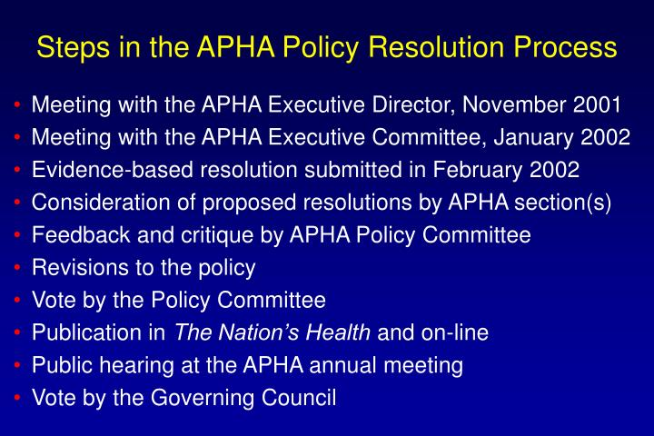 Steps in the APHA Policy Resolution Process