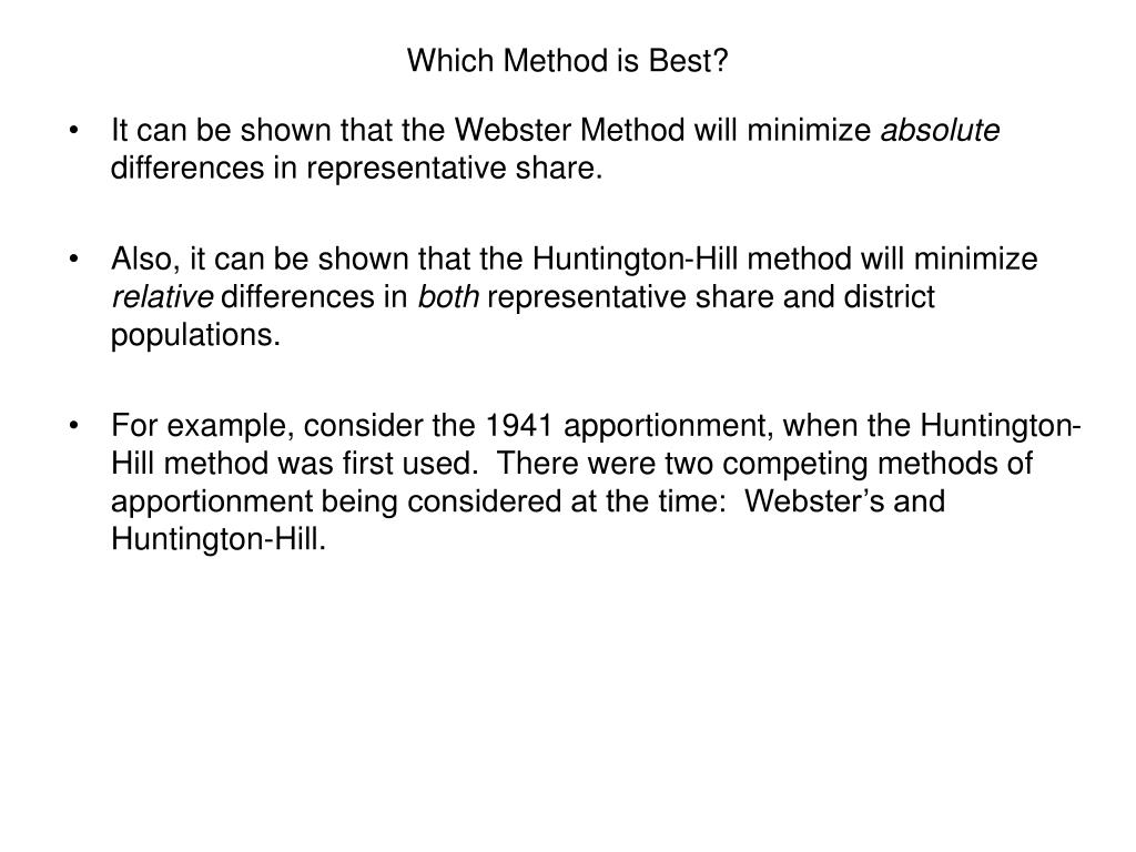 Which Method is Best?