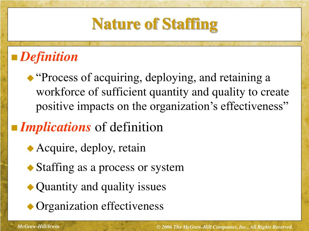 nature of staffing 3 chapter outline nature of staffing the big picture definition of staffing  implications of definition staffing system examples staffing models staffing  quantity:.