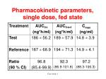 pharmacokinetic parameters single dose fed state