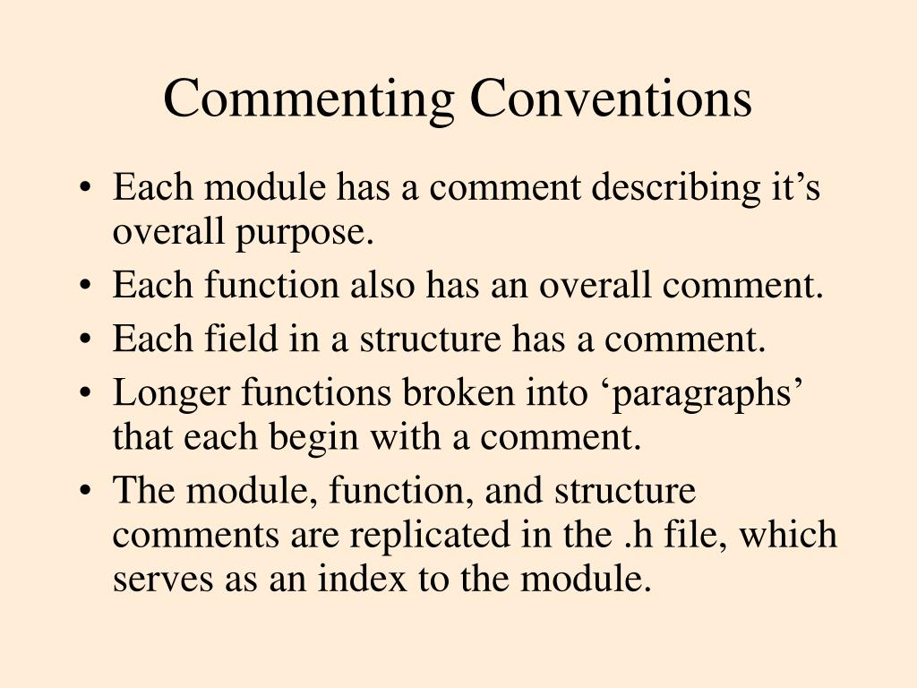 Commenting Conventions
