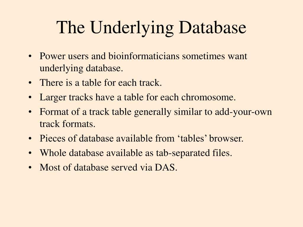 The Underlying Database