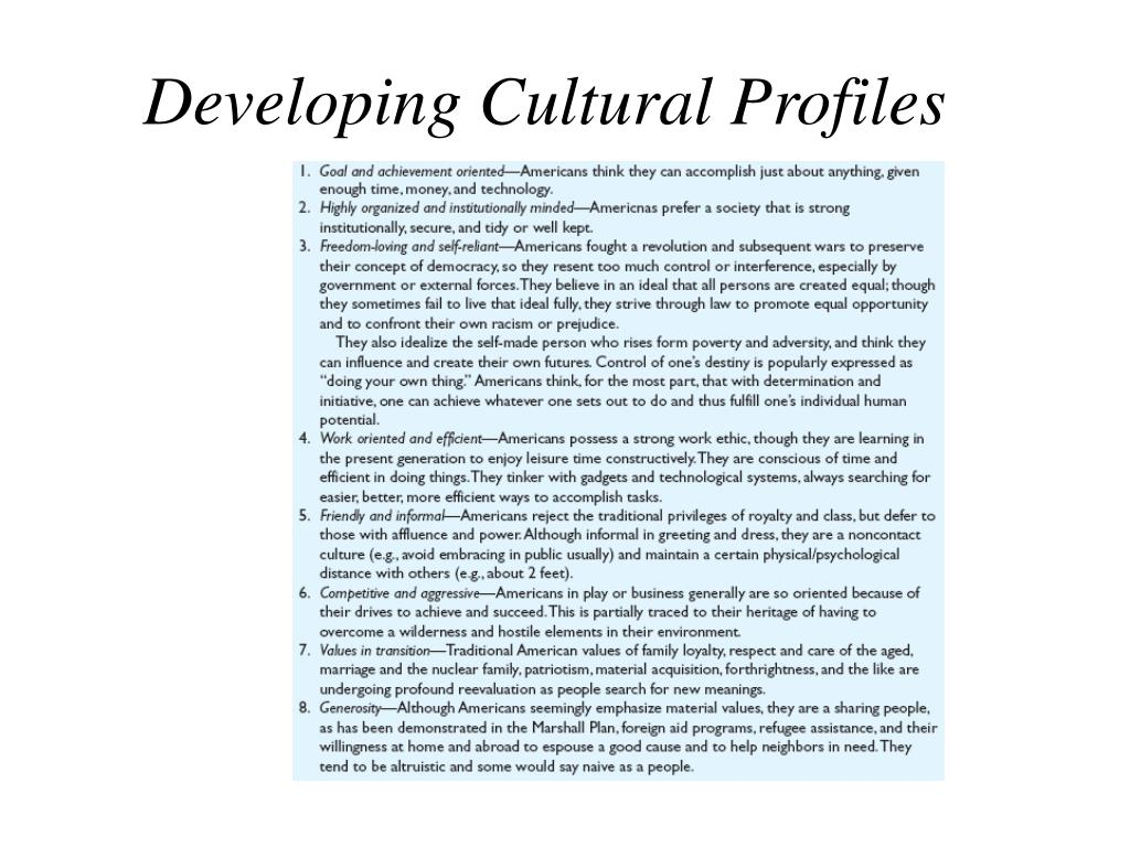 Developing Cultural Profiles