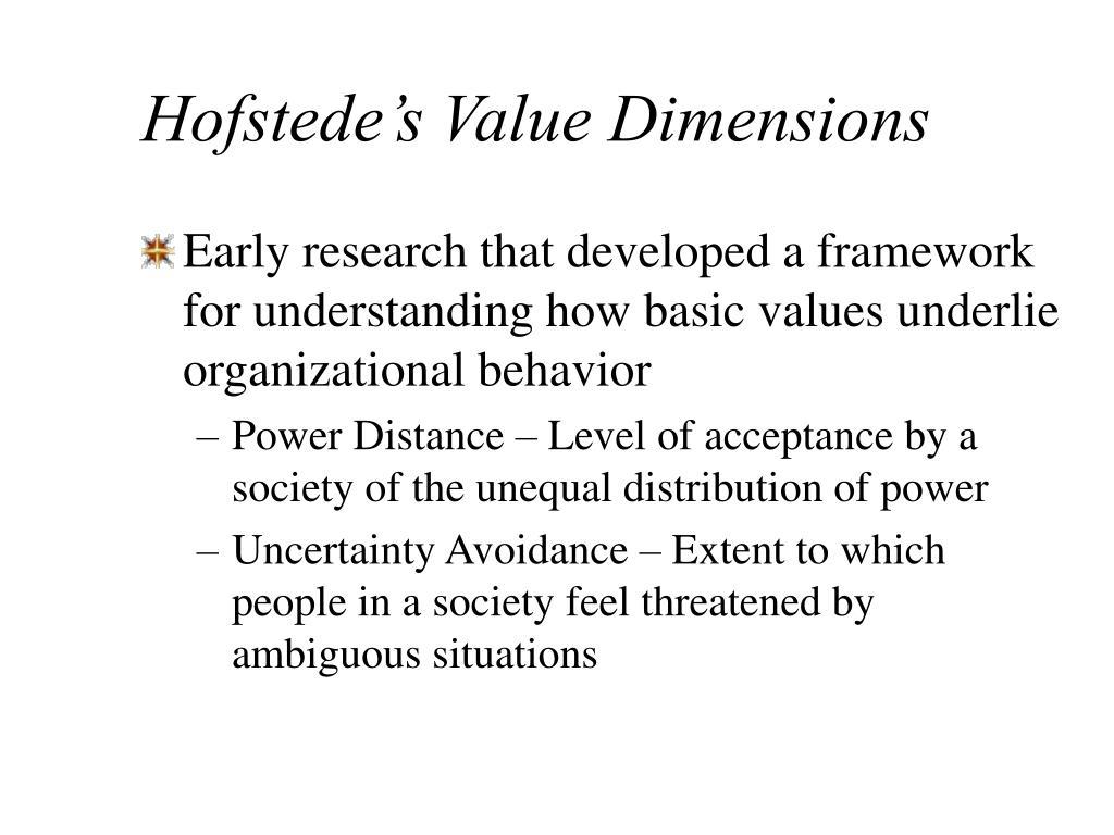 Hofstede's Value Dimensions