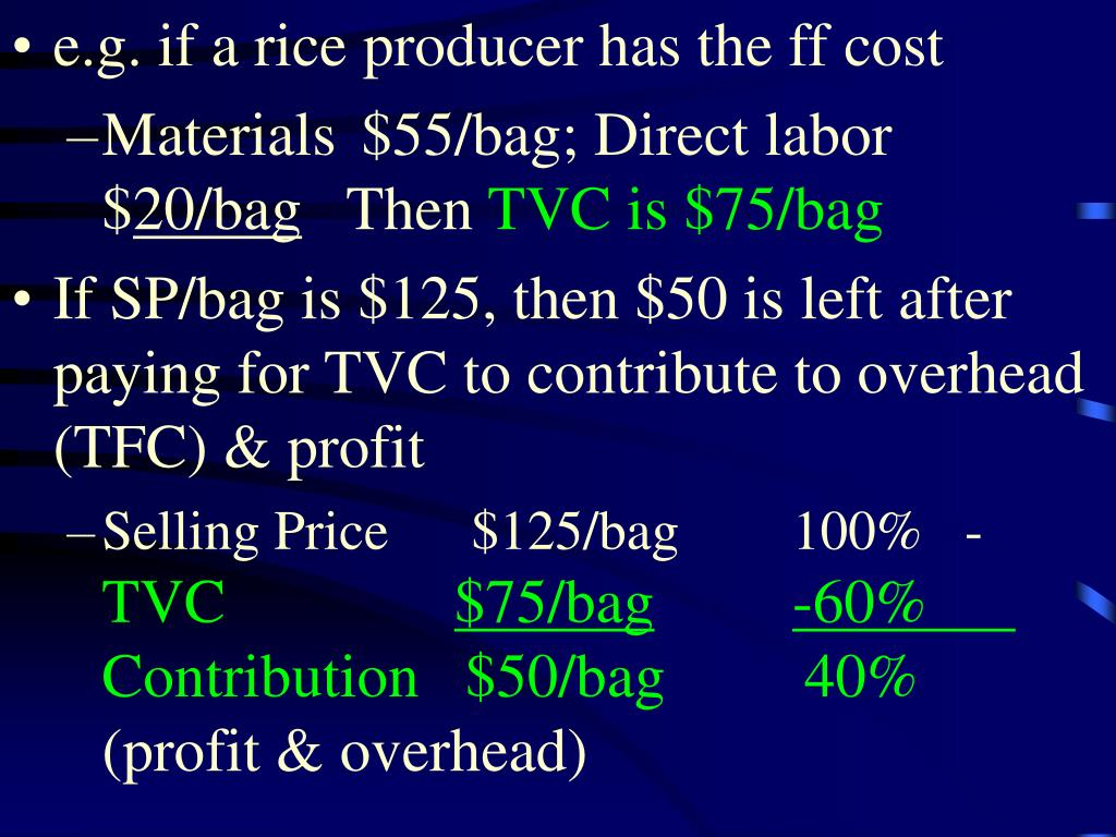 e.g. if a rice producer has the ff cost