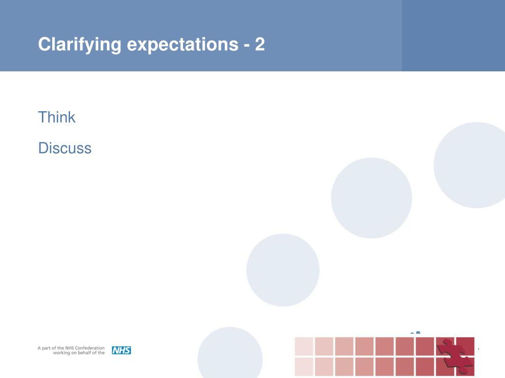 Clarifying expectations - 2