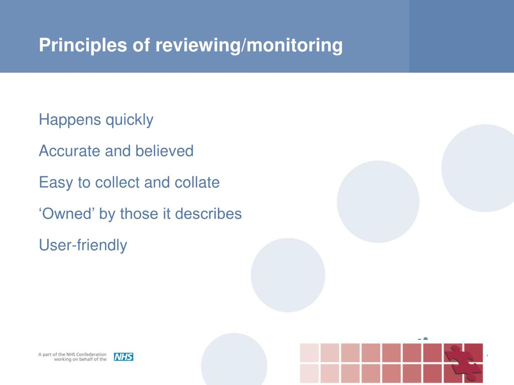 Principles of reviewing/monitoring