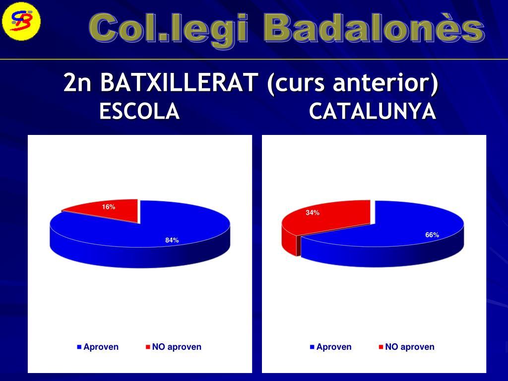 2n BATXILLERAT (curs anterior)