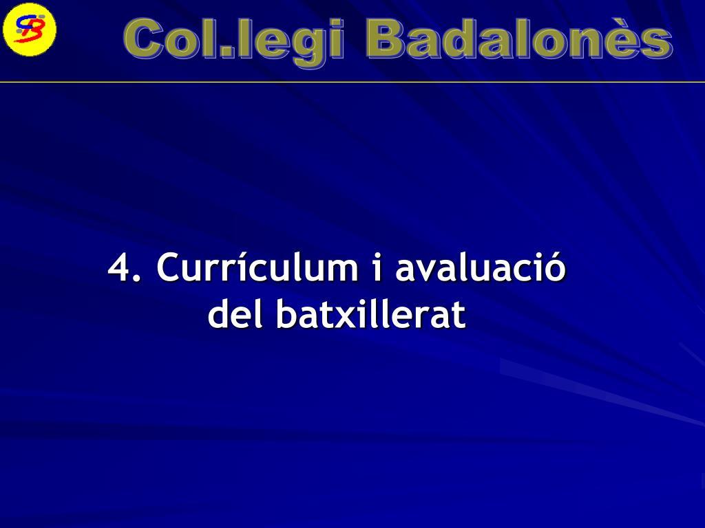 4. Currículum i avaluació