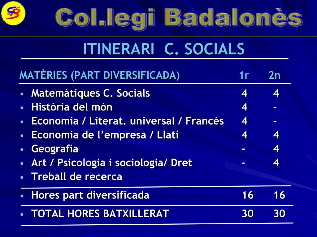 ITINERARI  C. SOCIALS