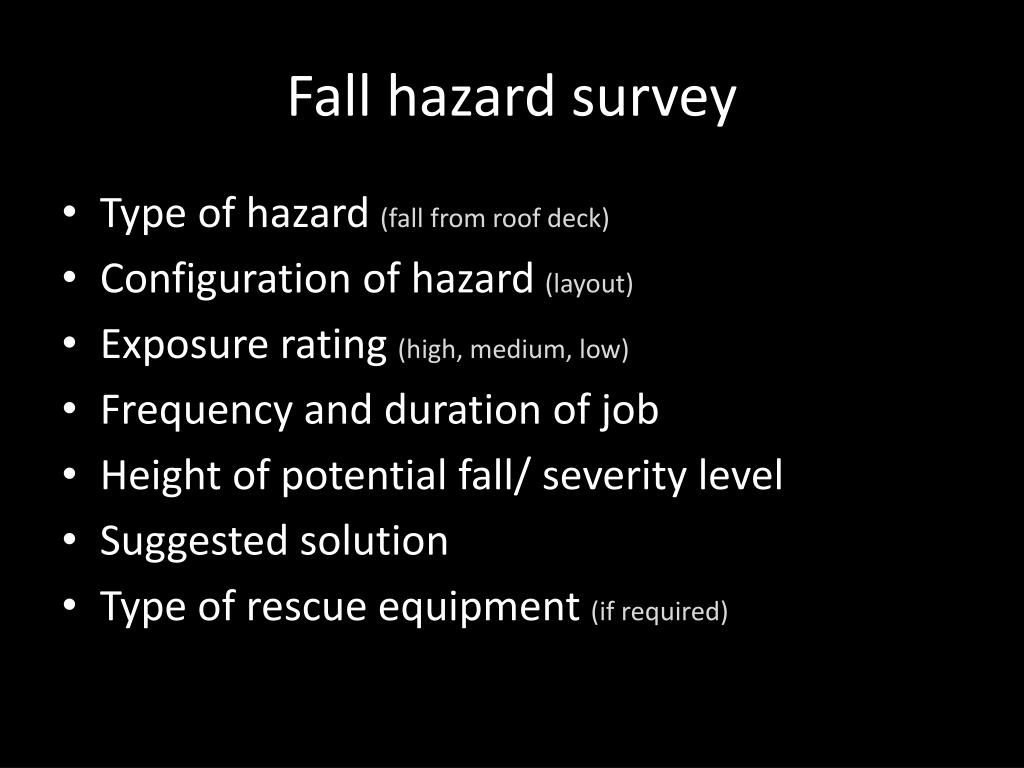 Fall hazard survey